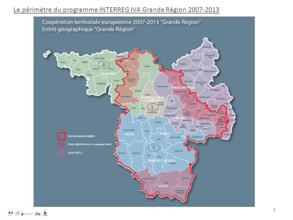 Le périmètre du programme INTERREG IVA Grande Région 2007-2013