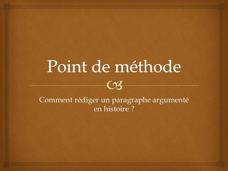 Rediger un paragraphe de dissertation