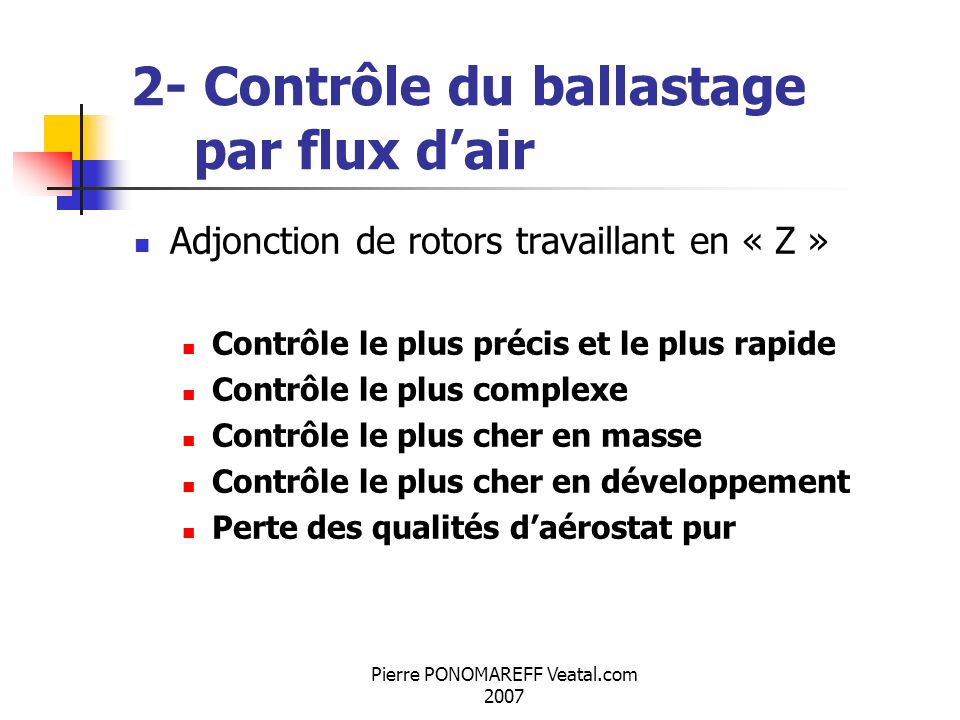 2- Contrôle du ballastage par flux d'air