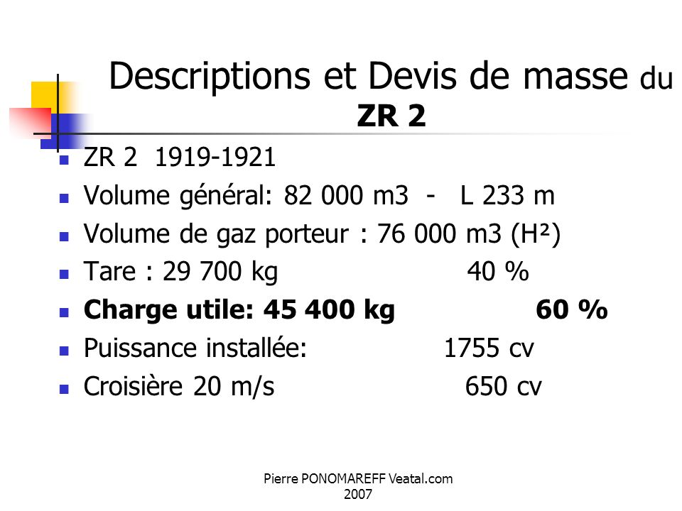 Descriptions et Devis de masse du ZR 2