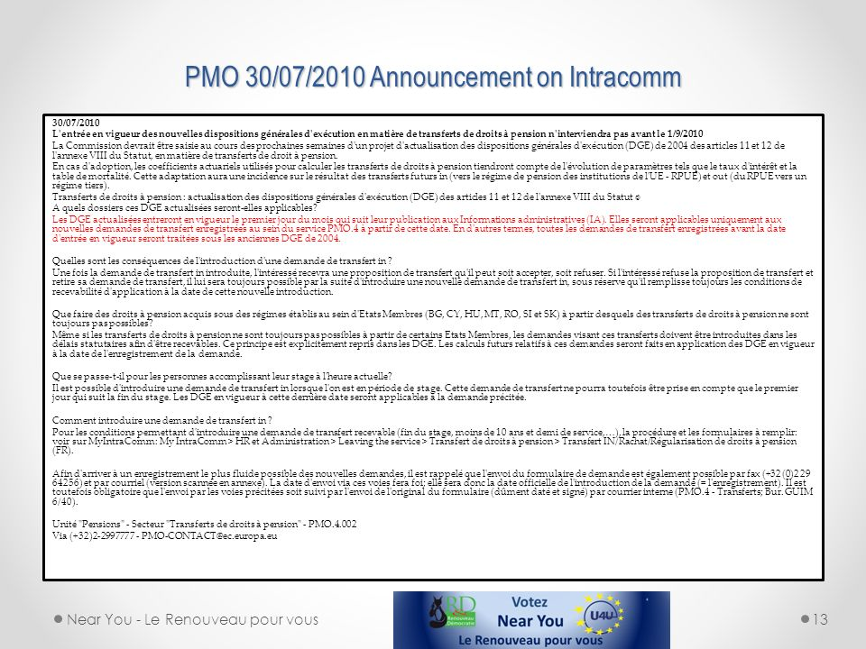 PMO 30/07/2010 Announcement on Intracomm