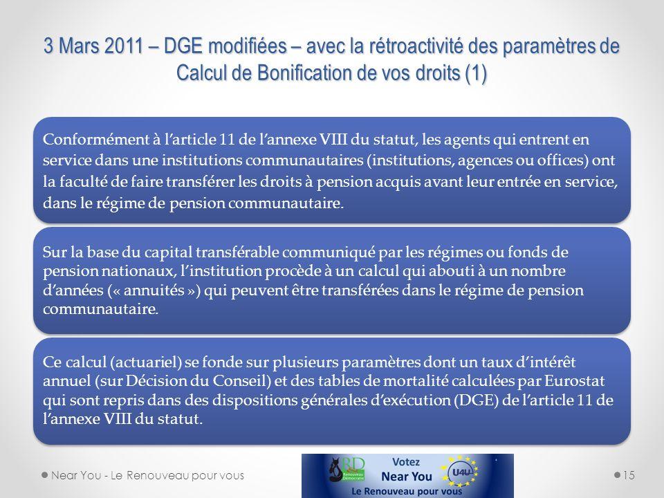 3 Mars 2011 – DGE modifiées – avec la rétroactivité des paramètres de Calcul de Bonification de vos droits (1)