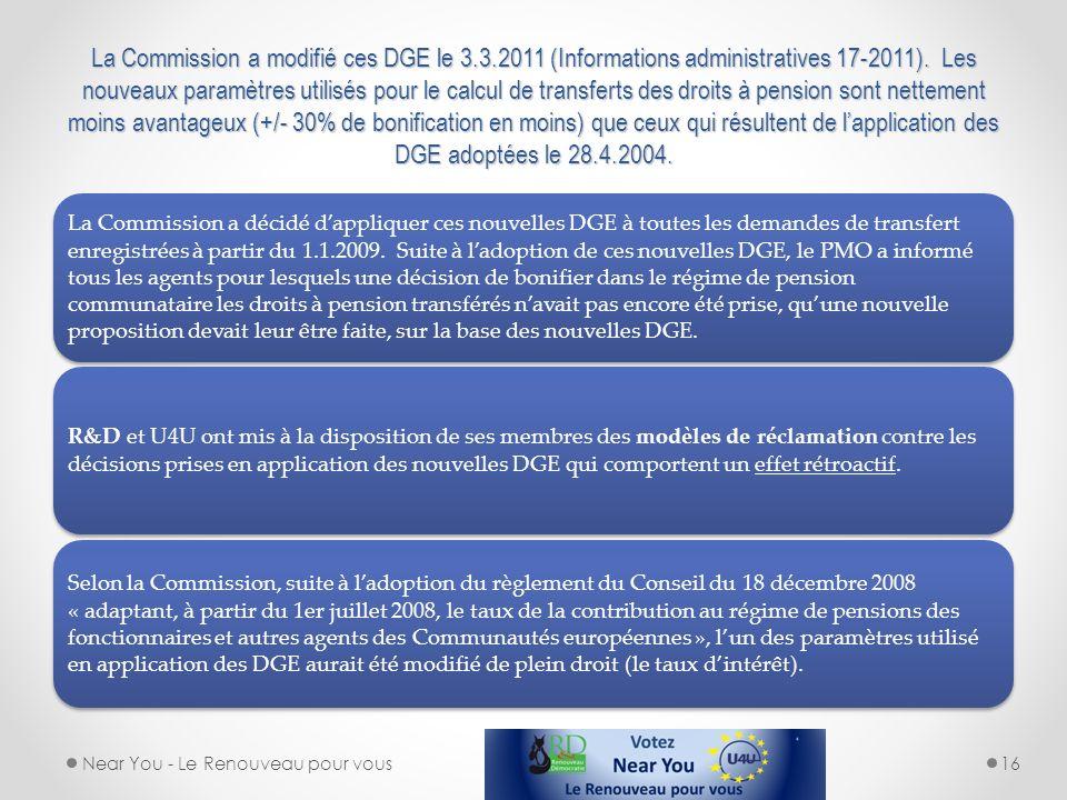 La Commission a modifié ces DGE le 3. 3