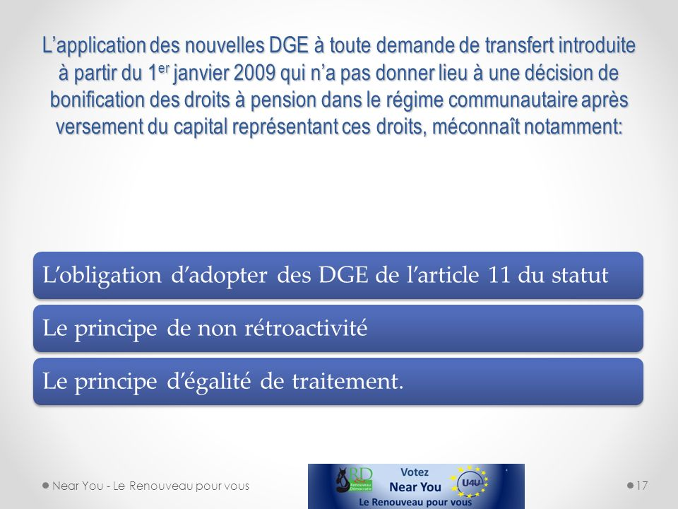 L'obligation d'adopter des DGE de l'article 11 du statut