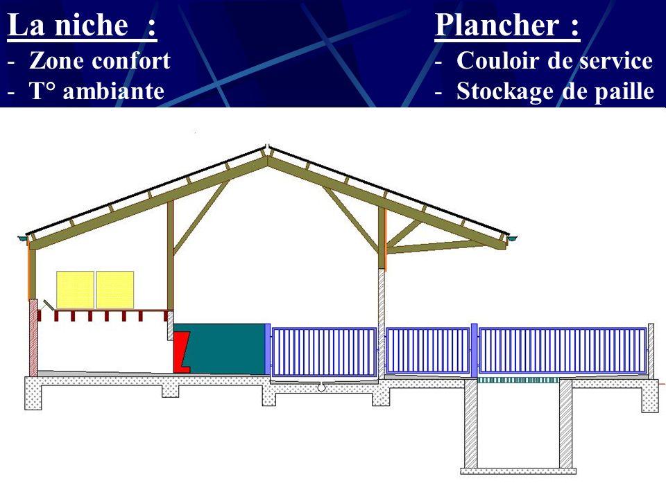 Plancher : La niche : Couloir de service Stockage de paille