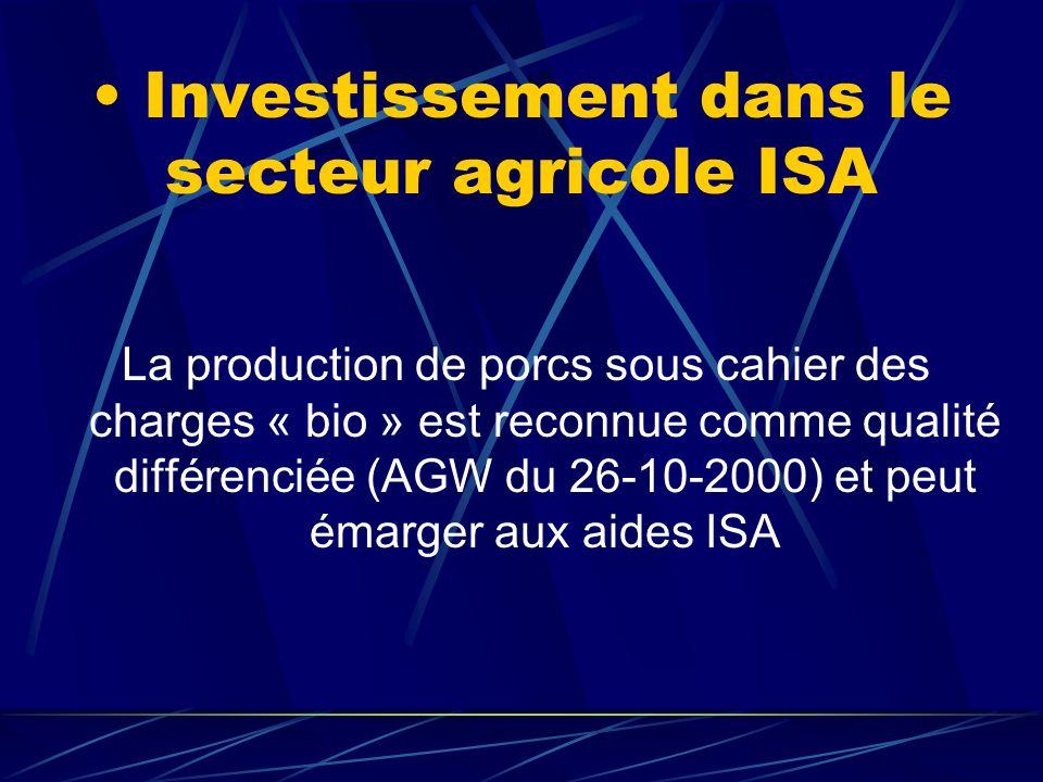 Investissement dans le secteur agricole ISA