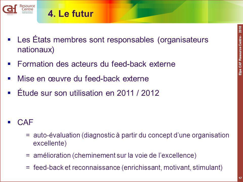 4. Le futur Les États membres sont responsables (organisateurs nationaux) Formation des acteurs du feed-back externe.