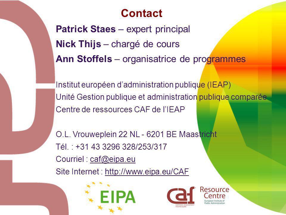 Contact Patrick Staes – expert principal Nick Thijs – chargé de cours