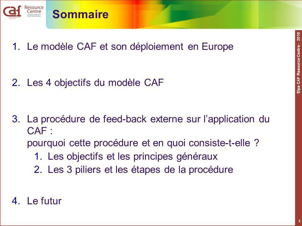 Sommaire Le modèle CAF et son déploiement en Europe