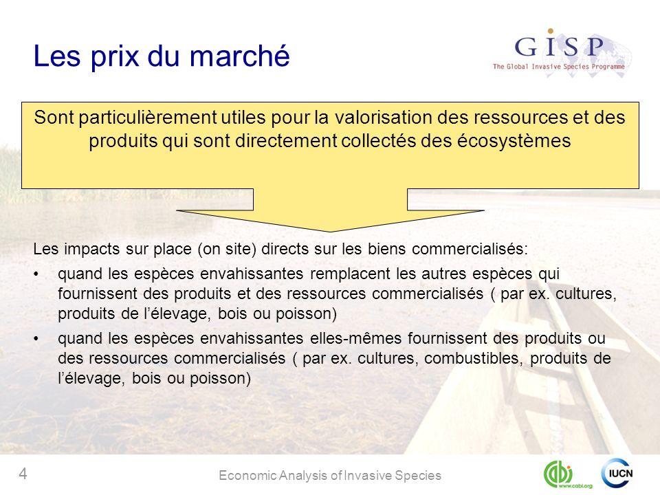 Les prix du marché Sont particulièrement utiles pour la valorisation des ressources et des produits qui sont directement collectés des écosystèmes.