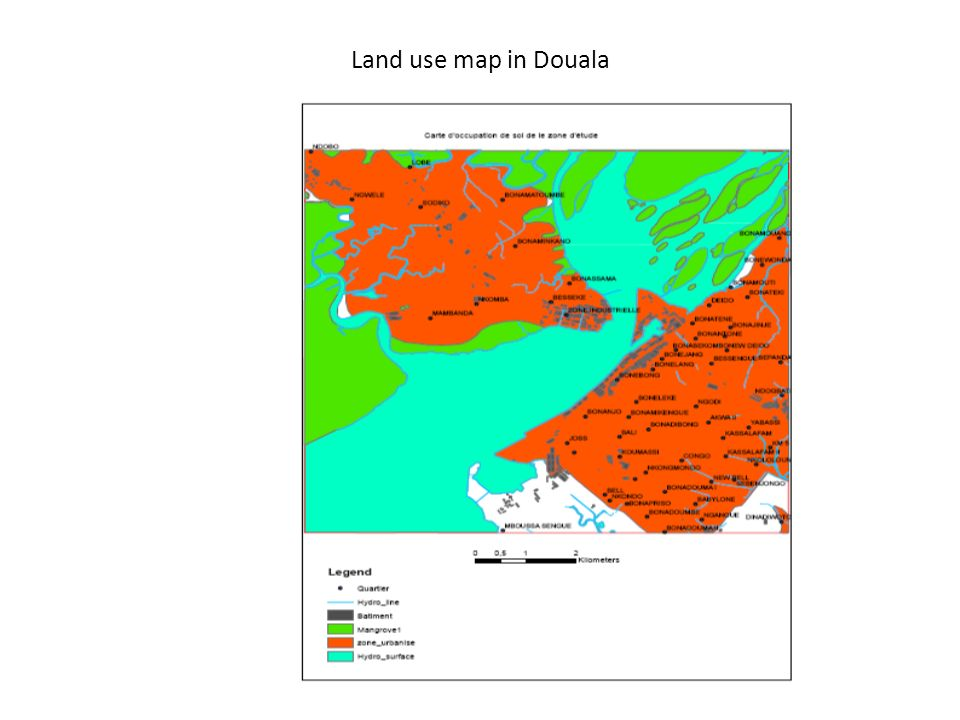 Land use map in Douala
