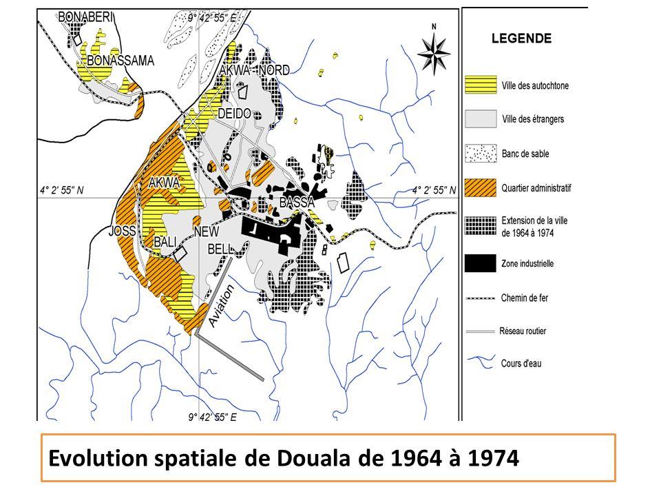 Evolution spatiale de Douala de 1964 à 1974
