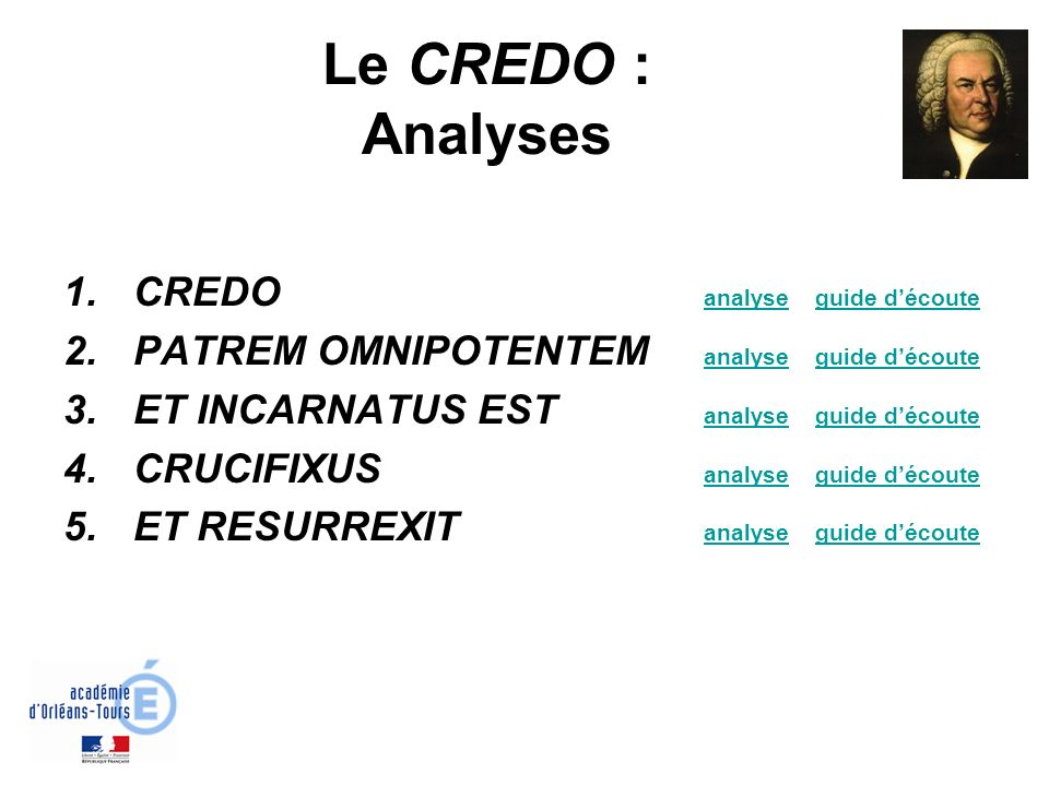 Le CREDO : Analyses CREDO analyse guide d'écoute