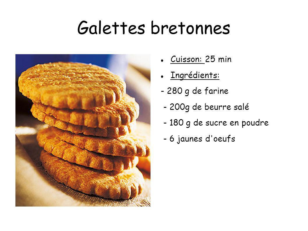 Galettes bretonnes Cuisson: 25 min Ingrédients: - 280 g de farine