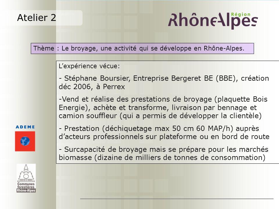 Atelier 2 Thème : Le broyage, une activité qui se développe en Rhône-Alpes. L'expérience vécue: