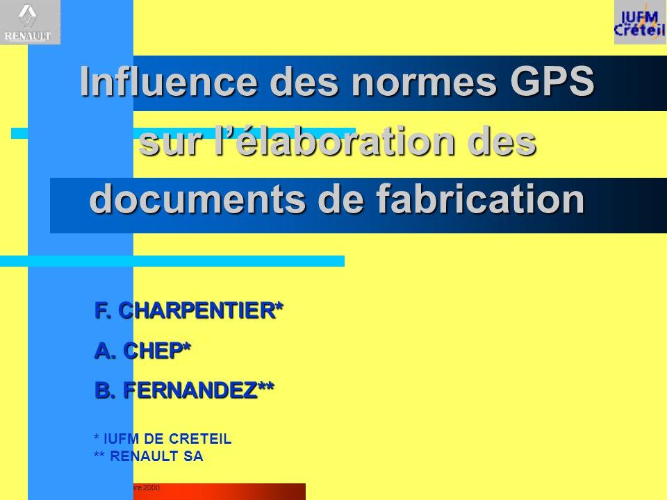 Influence des normes GPS sur l'élaboration des documents de fabrication