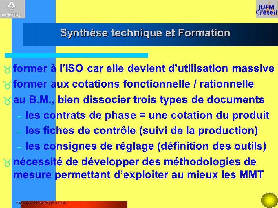 Synthèse technique et Formation