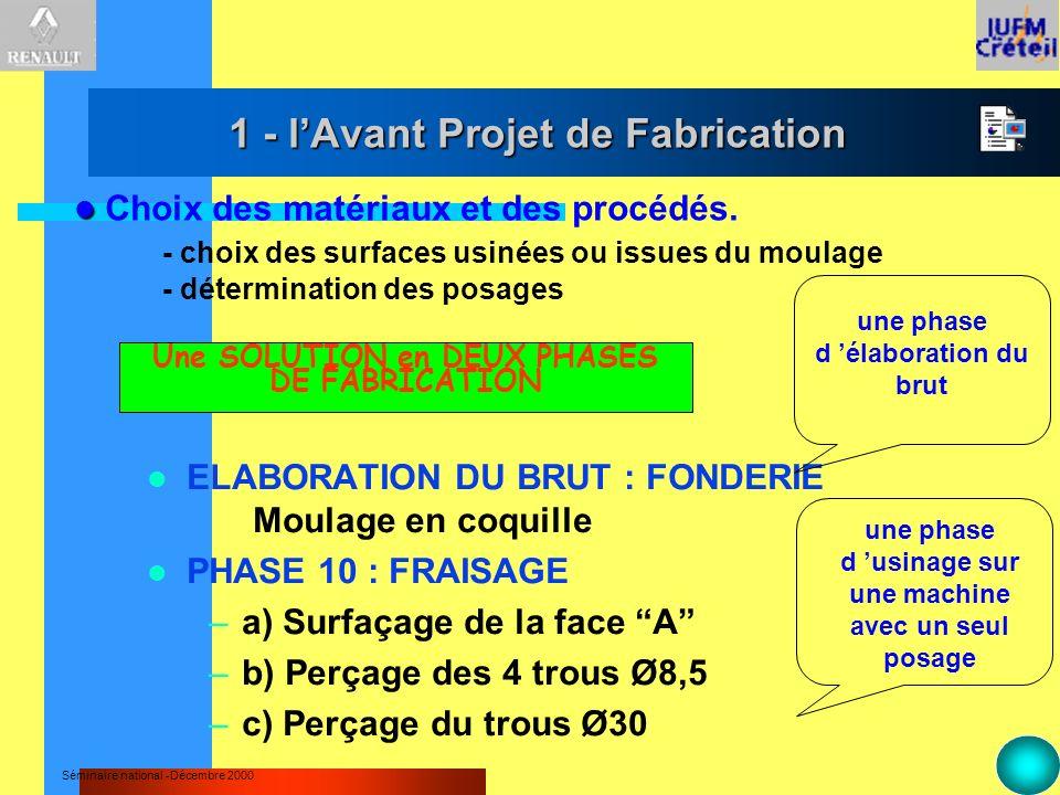 1 - l'Avant Projet de Fabrication