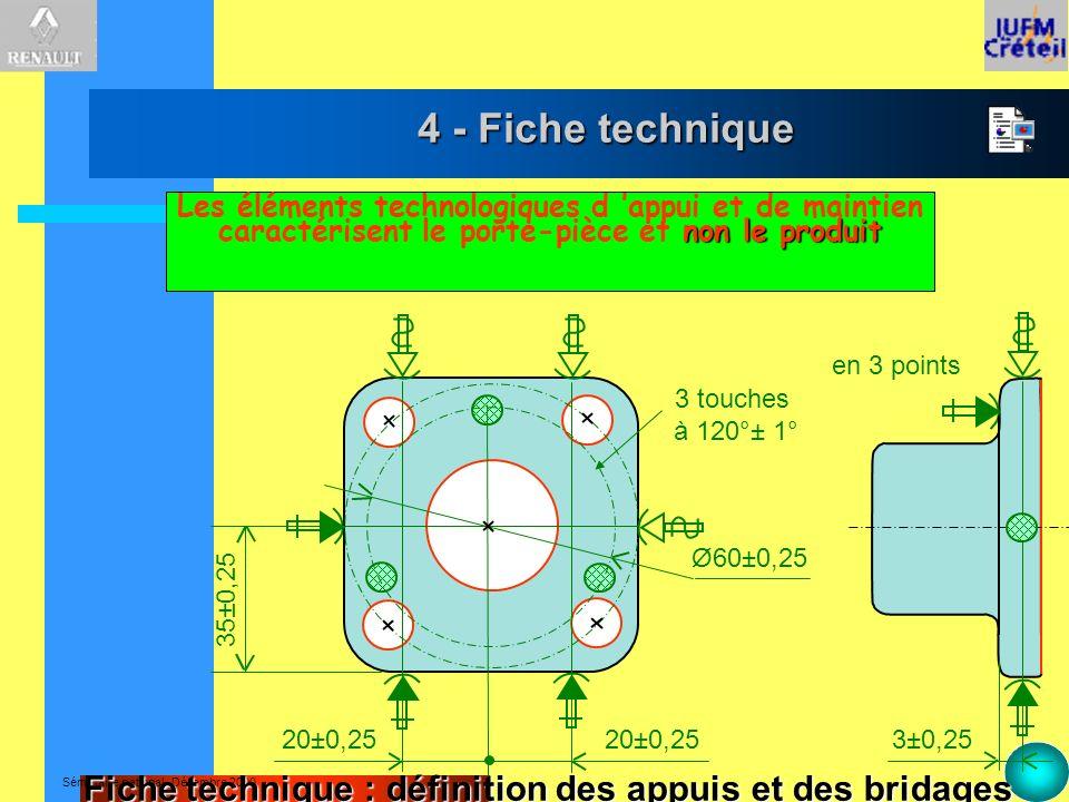 4 - Fiche techniqueLes éléments technologiques d 'appui et de maintien caractérisent le porte-pièce et non le produit.