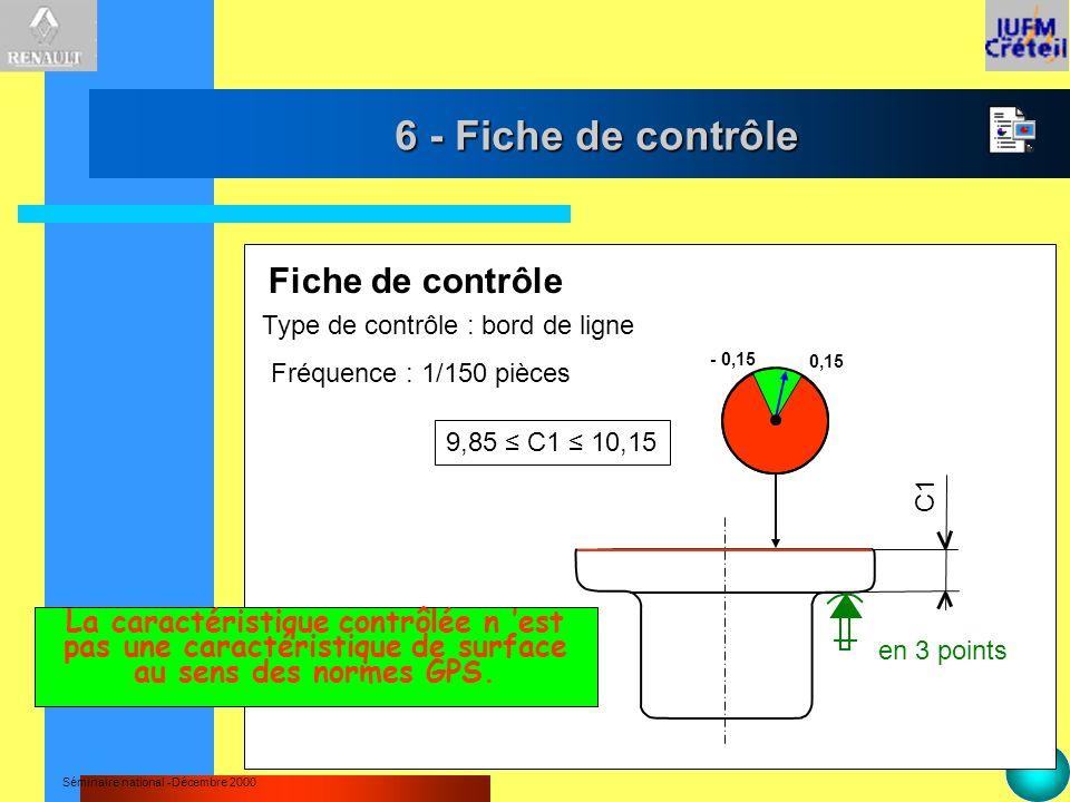 6 - Fiche de contrôle Fiche de contrôle
