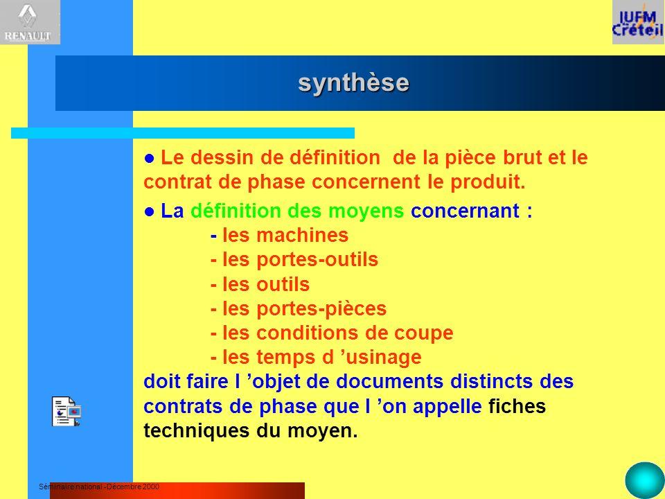 synthèse Le dessin de définition de la pièce brut et le contrat de phase concernent le produit.