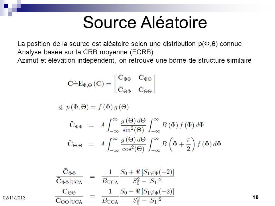 Source Aléatoire La position de la source est aléatoire selon une distribution p(Φ,θ) connue. Analyse basée sur la CRB moyenne (ECRB)