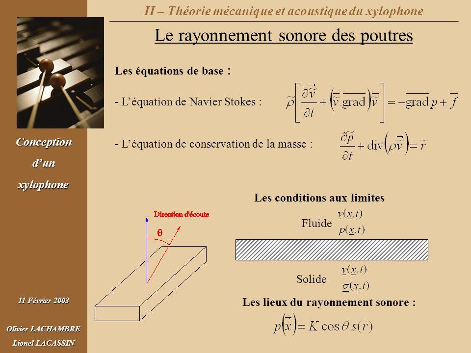 II – Théorie mécanique et acoustique du xylophone