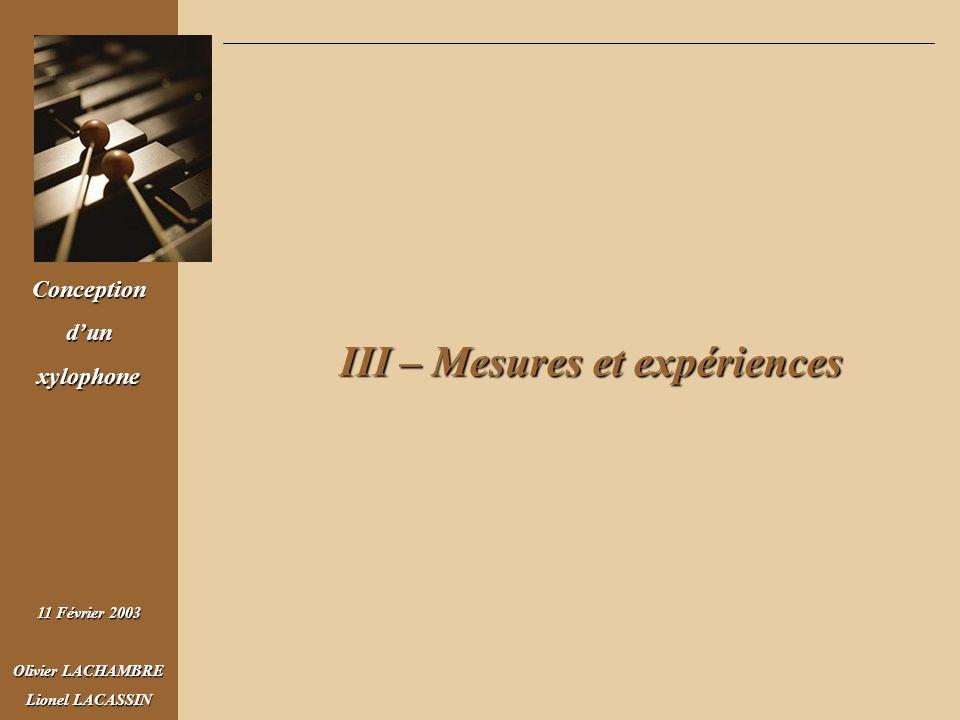 III – Mesures et expériences