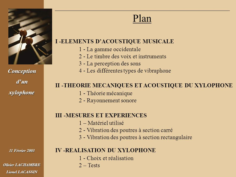 Plan I -ELEMENTS D'ACOUSTIQUE MUSICALE 1 - La gamme occidentale