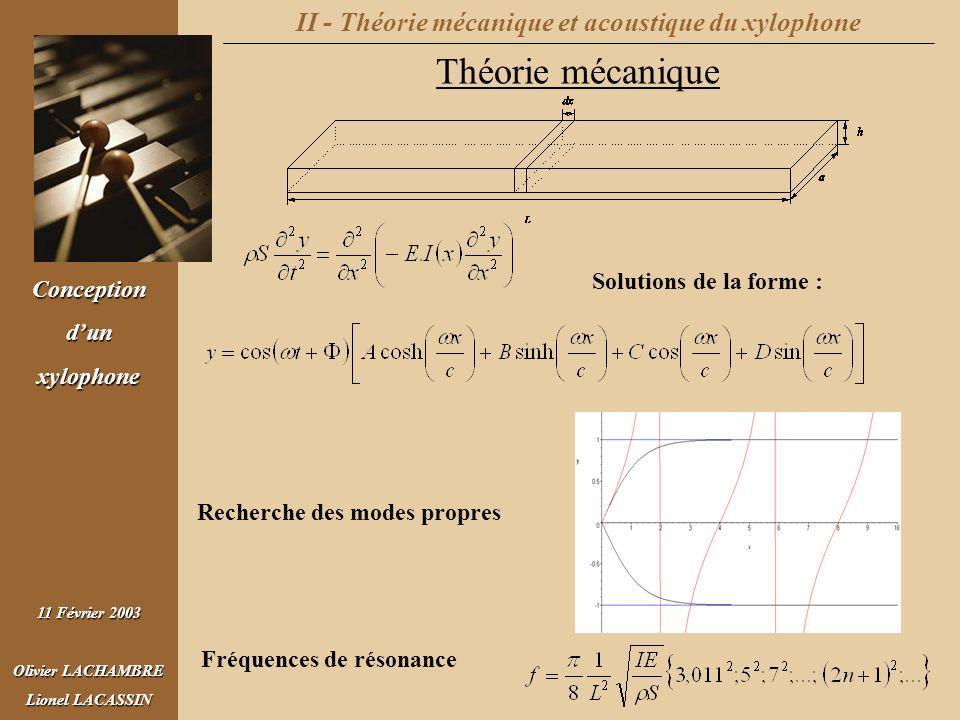 II - Théorie mécanique et acoustique du xylophone