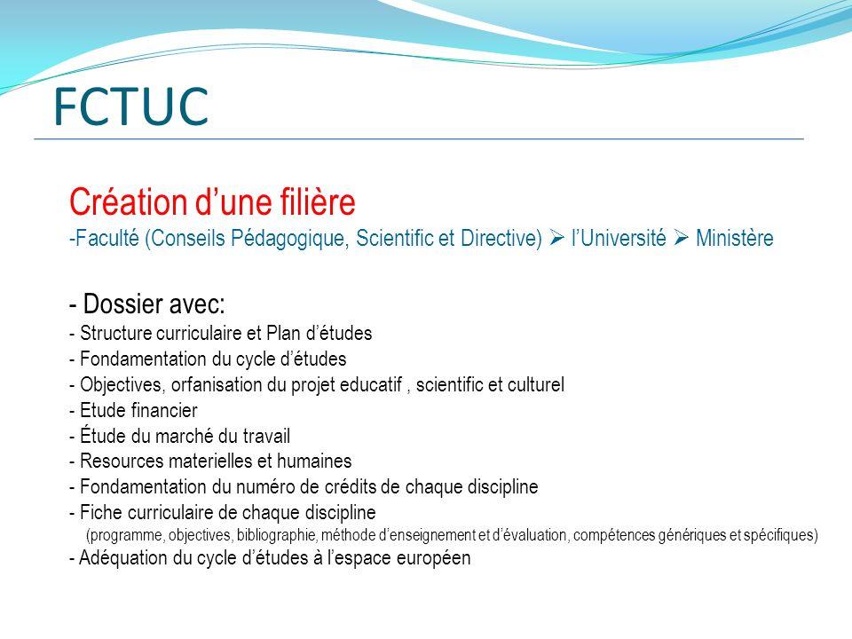 FCTUC Création d'une filière Dossier avec: