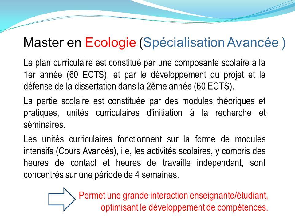 Master en Ecologie (Spécialisation Avancée )