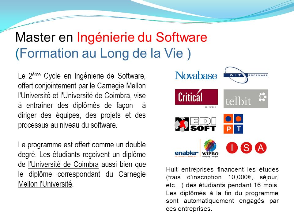 Master en Ingénierie du Software (Formation au Long de la Vie )