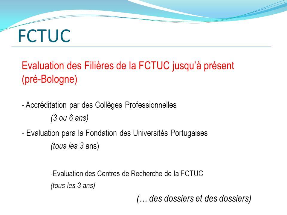FCTUC Evaluation des Filières de la FCTUC jusqu'à présent