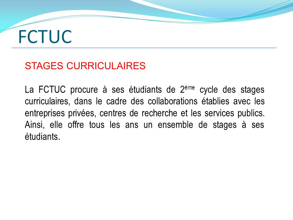 FCTUC STAGES CURRICULAIRES