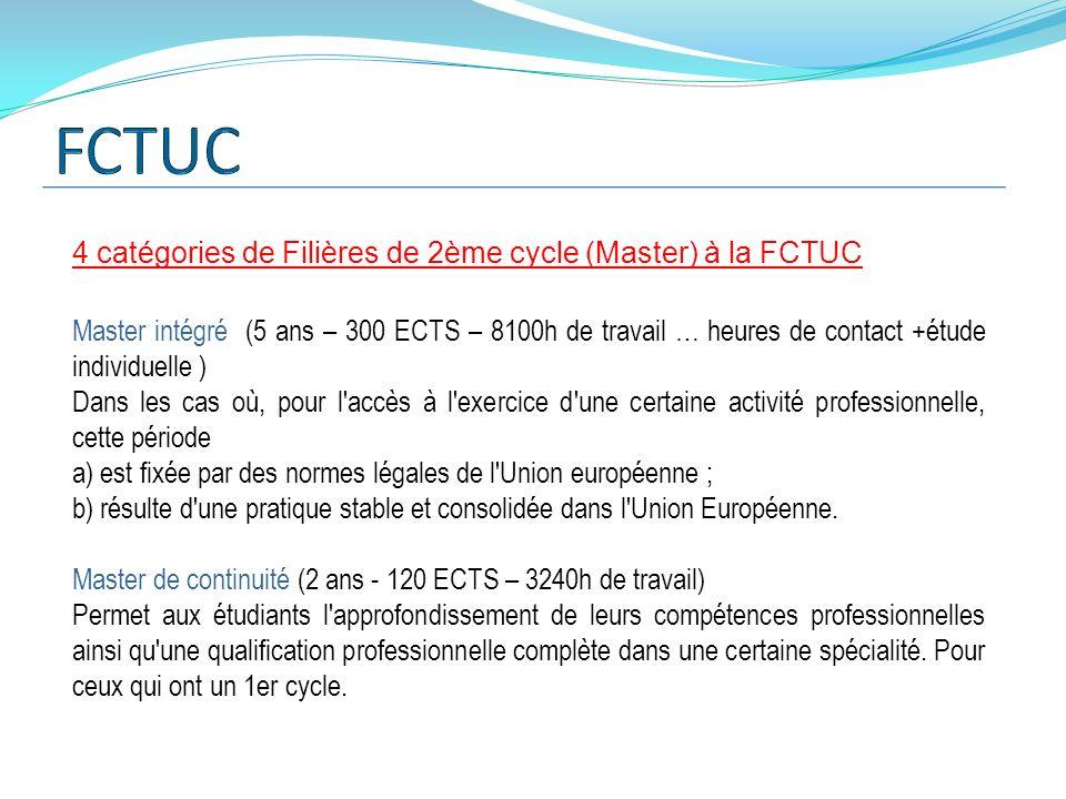 FCTUC 4 catégories de Filières de 2ème cycle (Master) à la FCTUC