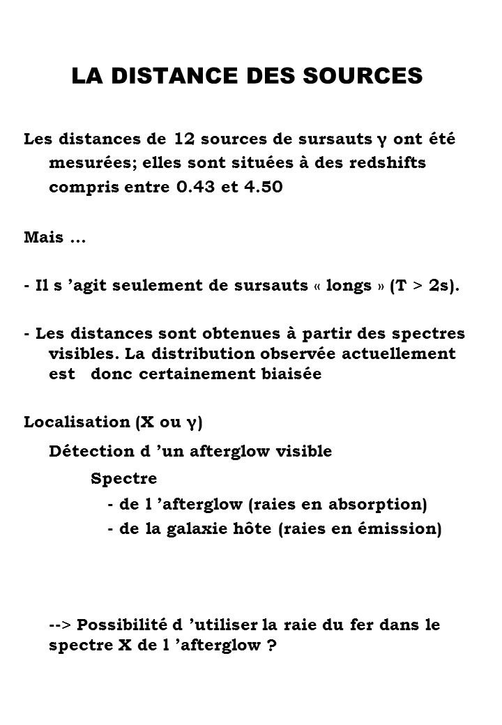 LA DISTANCE DES SOURCES
