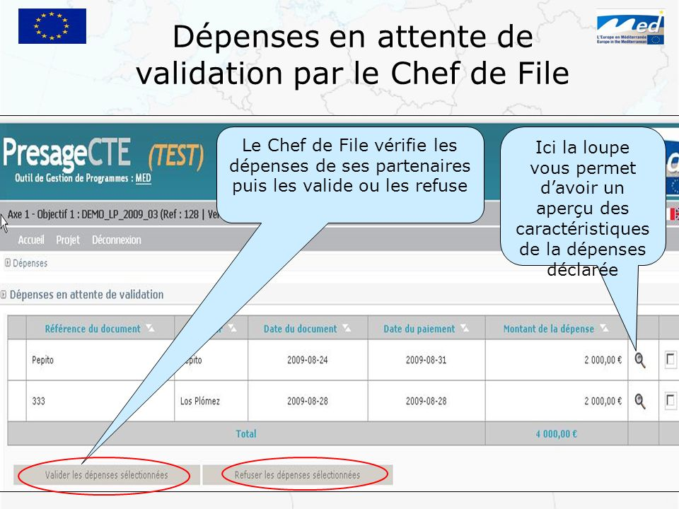 Dépenses en attente de validation par le Chef de File