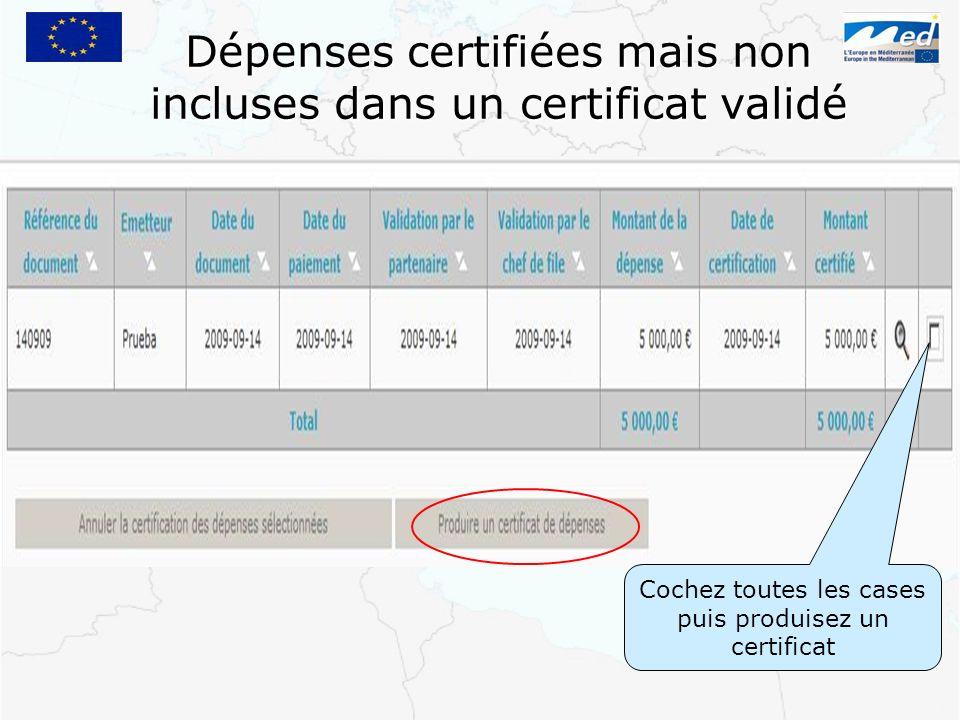 Dépenses certifiées mais non incluses dans un certificat validé