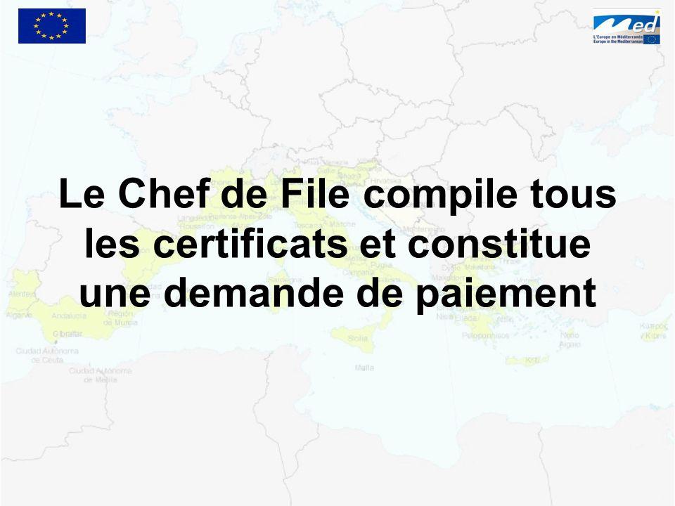 Le Chef de File compile tous les certificats et constitue une demande de paiement