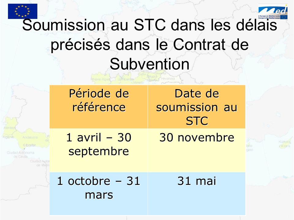 Date de soumission au STC