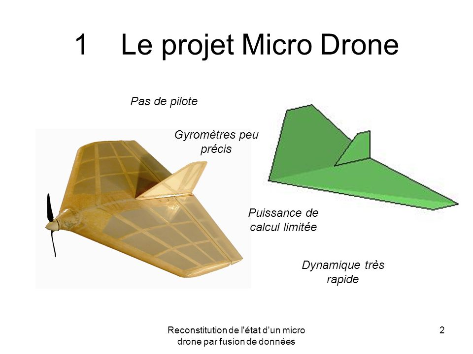 1 Le projet Micro Drone Pas de pilote Gyromètres peu précis