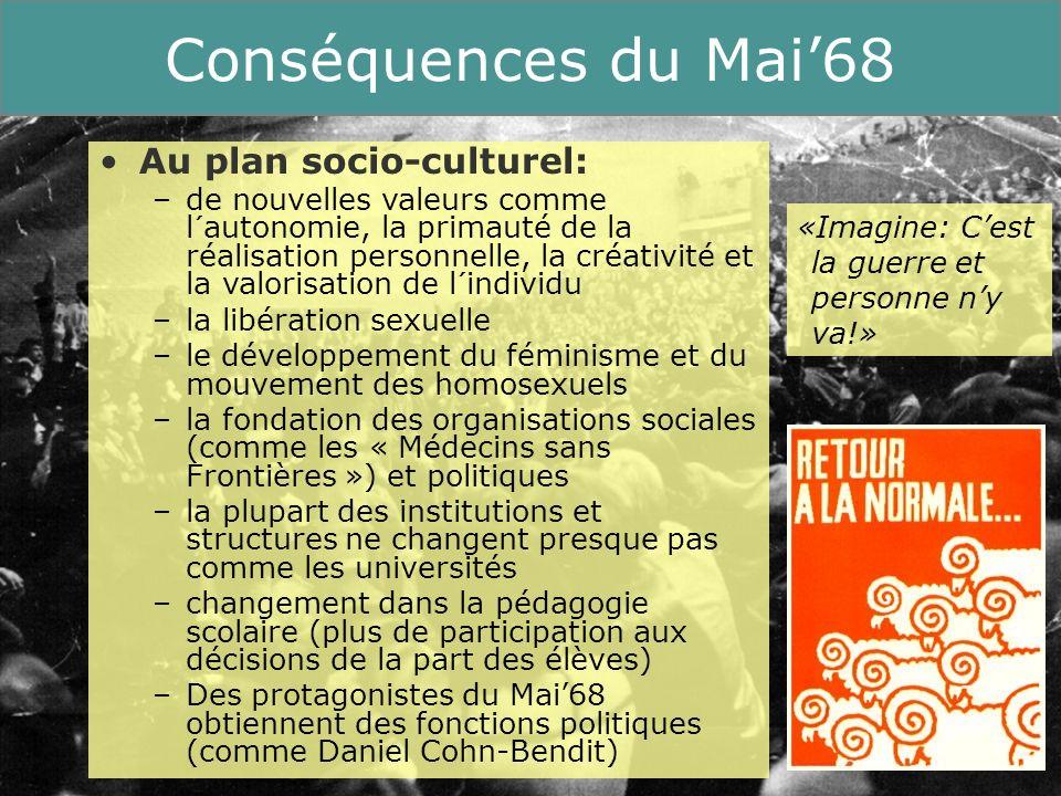 Conséquences du Mai'68 Au plan socio-culturel: