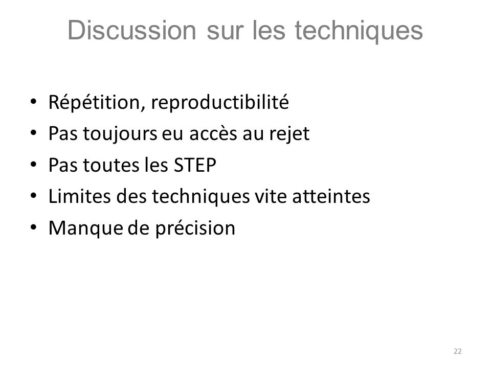 Discussion sur les techniques