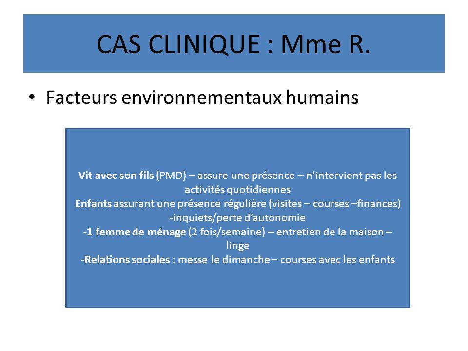 CAS CLINIQUE : Mme R. Facteurs environnementaux humains
