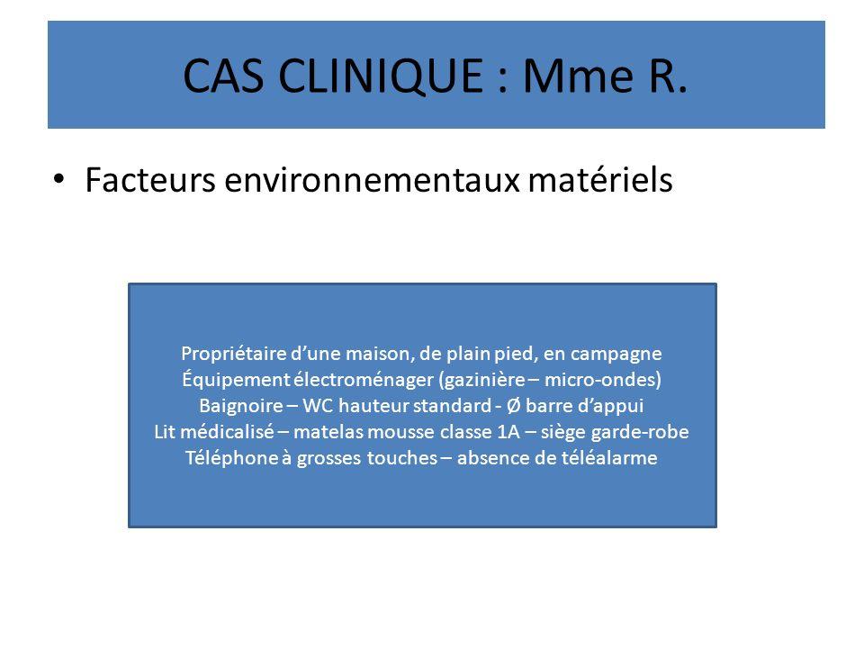 CAS CLINIQUE : Mme R. Facteurs environnementaux matériels