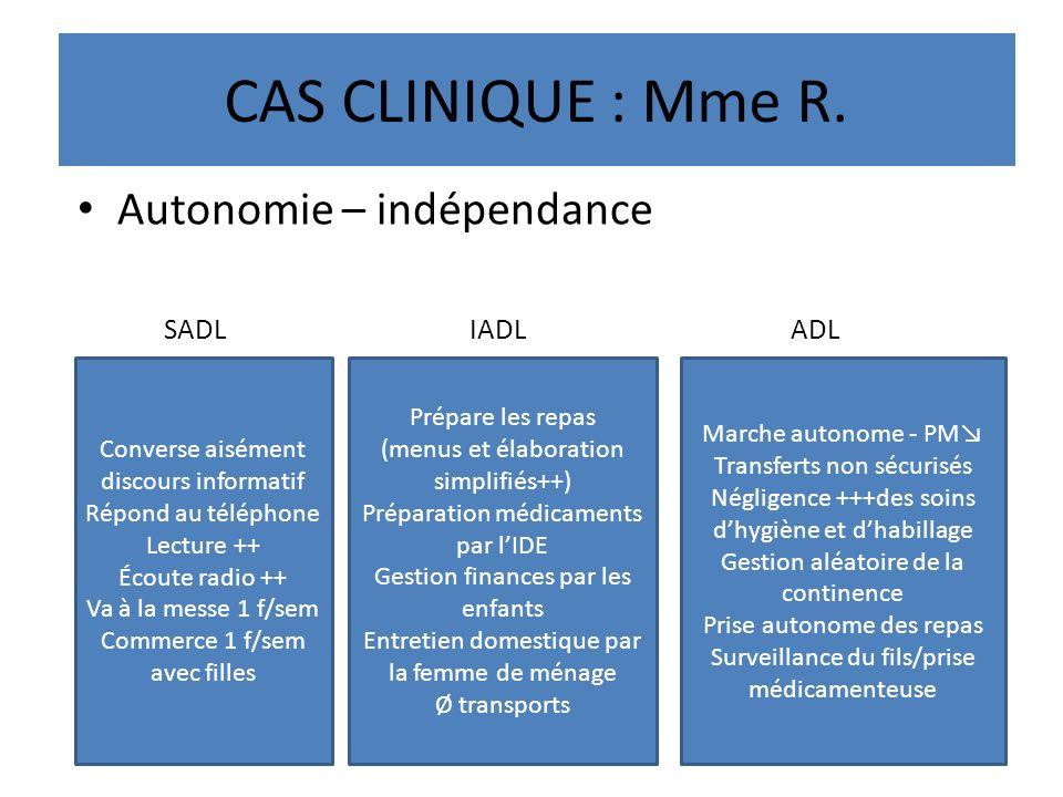 CAS CLINIQUE : Mme R. Autonomie – indépendance SADL IADL ADL