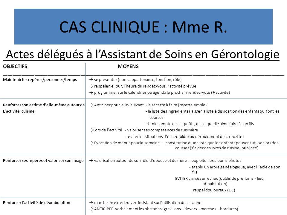 CAS CLINIQUE : Mme R. Actes délégués à l'Assistant de Soins en Gérontologie. OBJECTIFS MOYENS.