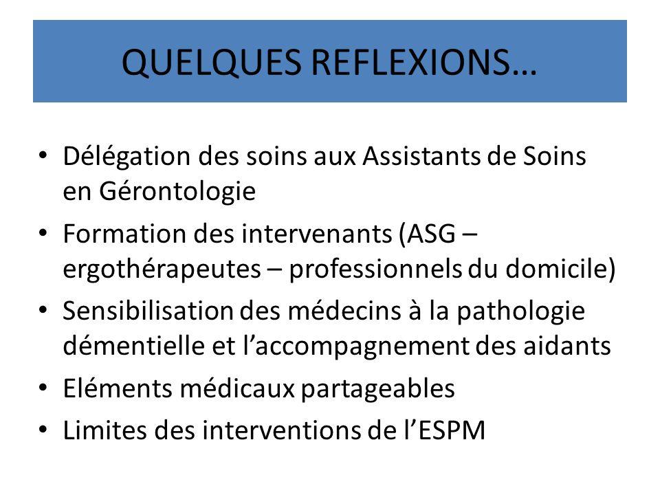 QUELQUES REFLEXIONS… Délégation des soins aux Assistants de Soins en Gérontologie.