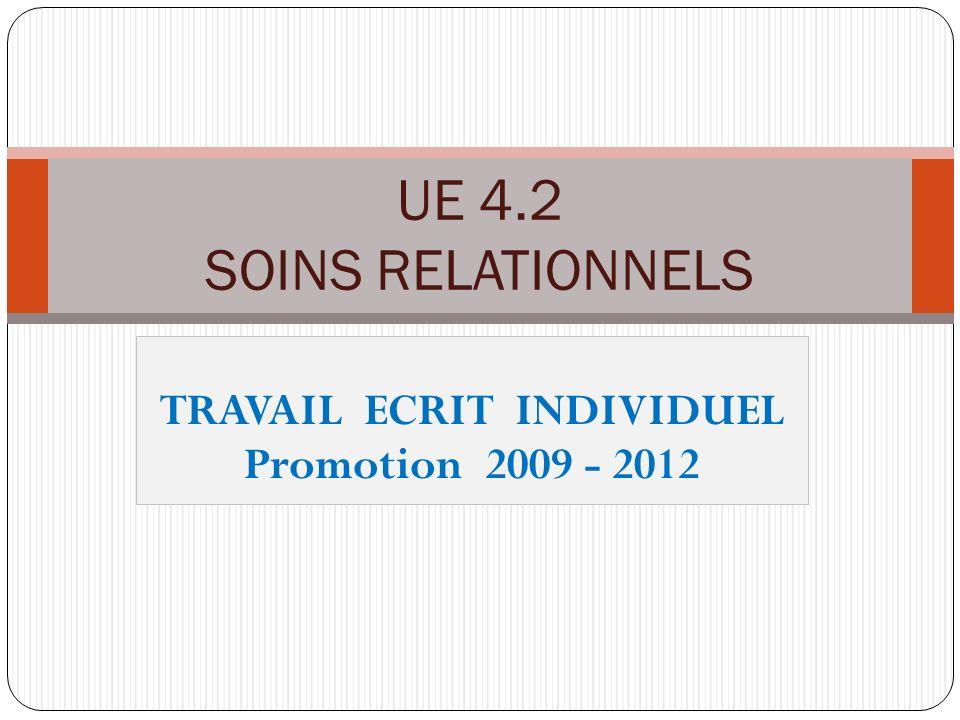 TRAVAIL ECRIT INDIVIDUEL Promotion 2009 - 2012